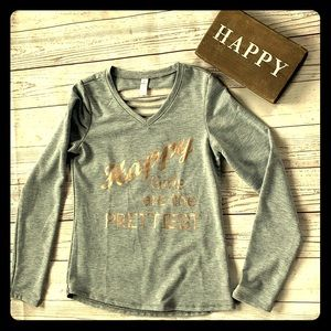 Girls V-neck gray sweatshirt size 12/14, large